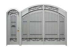 Gates and Doors. Modern  forged  decorative  gates and Doors.  Isolated over white background Stock Images