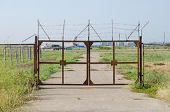 Gates at the entrance to the airfield Stock Images