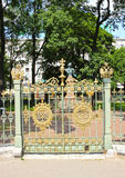 Gates and fence around the house of Peter I in St. Petersburg Royalty Free Stock Photos