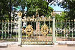 Gates and fence around the house of Peter I in St. Petersburg Royalty Free Stock Photography