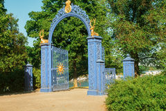 Gates with golden deer Royalty Free Stock Images