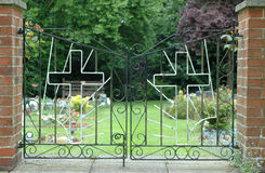 Gates Of Heaven. Iron gates at the entrance to a cemetery Stock Photos