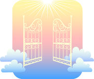 Gates of Heaven/eps. Symbolic illustration of ornate gates against a colorful clouded sky, representing heaven, afterlife, or a near-death experience Royalty Free Stock Photo