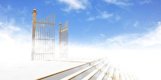 Gates of Heaven. In fog above stairs with blue sky background - 3d rendering vector illustration