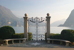 Gates on lake quay. In Locarno, Switzerland Royalty Free Stock Images
