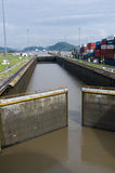 Gates of the Miraflores Locks partially open stock images