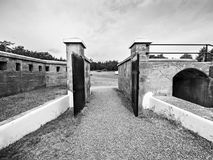 Gates Of An Old Military Fort, Black And White Royalty Free Stock Photos