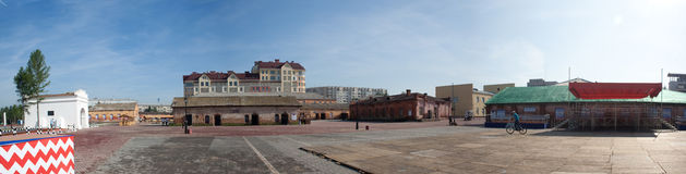 Gates of Omsk fortress and old buildings Royalty Free Stock Image