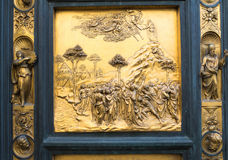 Gates of Paradise with Bible stories on door of Duomo Baptistry in Florence Stock Image