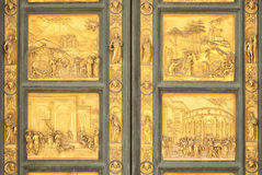 Gates of Paradise biblical scenes detail, Florence Stock Photography