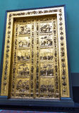 Gates of Paradise (Porta del Paradiso). Detail of Gates of Paradise (Porta del Paradiso) . Width 473 cm x height 767.5 cm .  Victoria and Albert museum. London Royalty Free Stock Photos