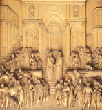 Gates of Paradise, Queen of Sheba and King Solomon, Baptistry of Florence Cathedral Royalty Free Stock Image