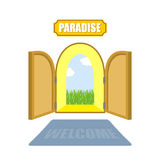 Gates of paradise on a white background. Entrance to paradise. A Royalty Free Stock Photos