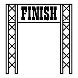 Gates racing finish icon, outline style. Gates racing finish icon. Outline illustration of gates racing finish vector icon for web Stock Photography