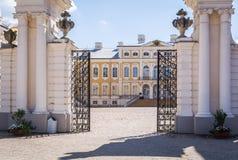 Entrance to historical building of Rundale palace, Latvia royalty free stock image