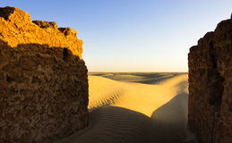The gates of Sahara. Abandoned village Stock Photography