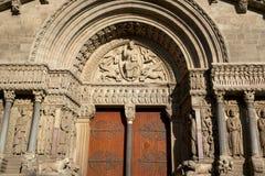 Gates of Saint Trophime Church, Arles, Bouche-du-Rhône, France. Portico of Saint Trophime Church on Place de la République, Arles (City), Bouche-du-Rhône Royalty Free Stock Images