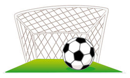 Gates and soccer ball. Soccer gates and ball and green field Stock Illustration