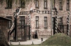 Gates to Auschwitz stock photo