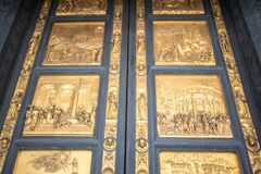 Gates to the Baptistery of Saint John on Piazza del Duomo, Flore. One of Florence`s oldest buildings and predates Santa Maria del Fiore cathedral. Gates of Royalty Free Stock Photos