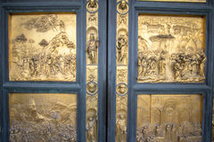 Gates to the Baptistery of Saint John in Piazza del Duomo. One of Florence`s oldest buildings and predates Santa Maria del Fiore cathedral. Gates of Paradise, by Royalty Free Stock Photos
