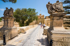 Gates to the city of Mdina. In Malta Stock Images