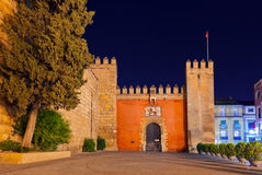 Gates to Real Alcazar Gardens in Seville Spain. Architecture background Royalty Free Stock Photo