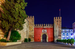 Gates to Real Alcazar Gardens in Seville Spain. Architecture background Stock Photography