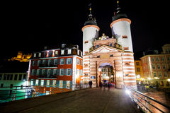 Gates and towers on Alte Brucke during night Royalty Free Stock Image
