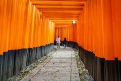 Gates tunnel. Inari torii gates - Fushimi Inari Shrine at Kyoto - Japan Royalty Free Stock Images