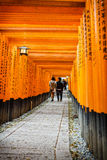 Gates tunnel. Inari torii gates - Fushimi Inari Shrine at Kyoto - Japan Royalty Free Stock Image