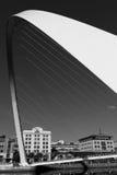 Gateshead Millenium Bridge in Black and White and Portrait Orien. Arch of the Gateshead Millenium Foot Bridge in Newcastle, England- Black and White and Portrait Stock Photos