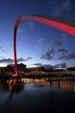 Gateshead Millennium Bridge. And Newcastle Quayside at Night Stock Photos