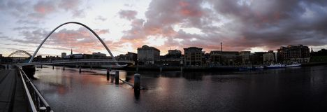 Gateshead Millennium Bridge and Newcastle Quayside Stock Photography