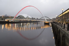 Gateshead Millennium Bridge from Newcastle Quayside Stock Images