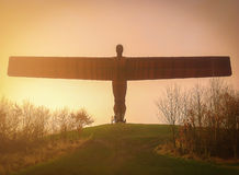 GATESHEAD, Regno Unito - 5 gennaio 2013 L'angelo del Nord ai soli Fotografie Stock Libere da Diritti