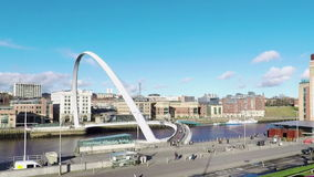 Gateshead Waterfront. A view of the Gateshead waterfront looking towards Newcastle Upon Tyne in North East England hd, 25fps stock video footage