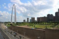 Gateway Arch St. Louis. The Gateway Arch is a 630-foot 192 m monument in St. Louis, Missouri. Clad in stainless steel and built in the form of an inverted Royalty Free Stock Image