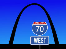 Gateway Arch St Louis Missouri. With close view of interstate 70 sign royalty free illustration