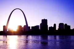 Gateway Arch St. Louis Missouri Skyline. At sunset Stock Photography