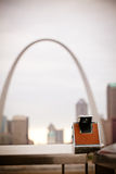 Gateway Arch and Vintage Camera. View of the Gateway Arch - St Louis, Missouri stock images