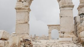 Gateway arches in archaeological site of Sagalassos in Turkey,. View of gateway arches in the archaeological site of Sagalassos, best-preserved ancient city stock footage