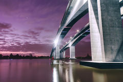 Gateway Bridge Motorway. The Gateway Bridge (Sir Leo Hielscher Bridges) at sunset in Brisbane, Queensland, Australia Royalty Free Stock Photos