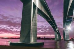 Gateway Bridge Motorway. The Gateway Bridge (Sir Leo Hielscher Bridges) at sunset in Brisbane, Queensland, Australia Royalty Free Stock Image
