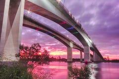 Gateway Bridge Motorway. The Gateway Bridge (Sir Leo Hielscher Bridges) at sunset in Brisbane, Queensland, Australia Royalty Free Stock Photo