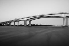 Gateway Bridge Motorway in Brisbane. Black and White. The Gateway Bridge Sir Leo Hielscher Bridges in Brisbane, Queensland, Australia Royalty Free Stock Photo