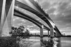 Gateway Bridge Motorway in Brisbane. Black and White. The Gateway Bridge Sir Leo Hielscher Bridges in Brisbane, Queensland, Australia Royalty Free Stock Images