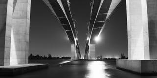 Gateway Bridge Motorway in Brisbane. Black and White. The Gateway Bridge Sir Leo Hielscher Bridges in Brisbane, Queensland, Australia Stock Photography
