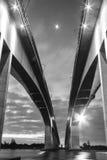 Gateway Bridge Motorway in Brisbane. Black and White. The Gateway Bridge Sir Leo Hielscher Bridges in Brisbane, Queensland, Australia Stock Images