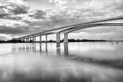 Gateway Bridge Motorway in Brisbane. Black and White. The Gateway Bridge Sir Leo Hielscher Bridges in Brisbane, Queensland, Australia Royalty Free Stock Image